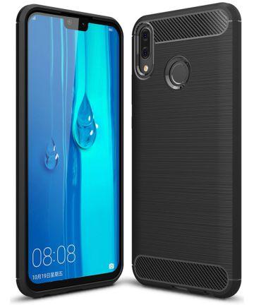 Huawei Y9 (2019) Geborsteld TPU Hoesje Zwart Hoesjes