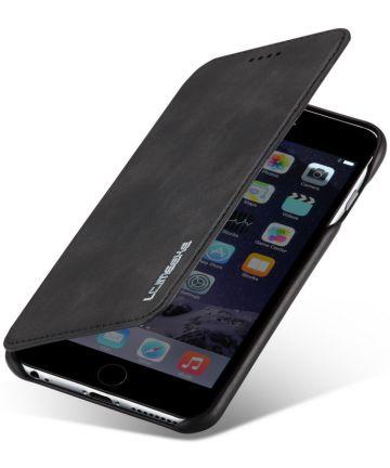 Apple iPhone 6/6s Retro Style Kaarthouder Bookcase Hoesje Zwart Hoesjes