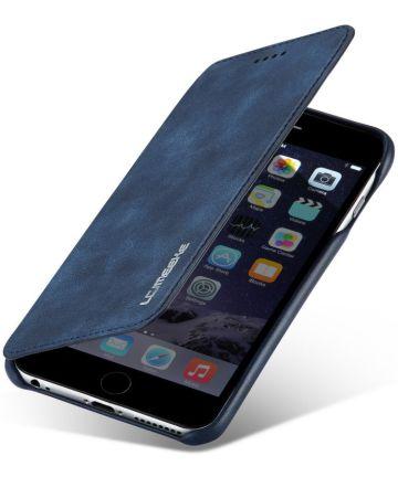 Apple iPhone 6/6s Retro Style Bookcase Hoesje met Kaarthouder Blauw Hoesjes