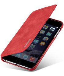 Apple iPhone 6/6s Retro Style Bookcase Hoesje Kaarthouder Rood