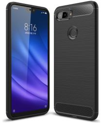 Xiaomi Mi 8 Lite Geborsteld TPU Hoesje Zwart