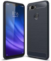 Xiaomi Mi 8 Lite Geborsteld TPU Hoesje Blauw