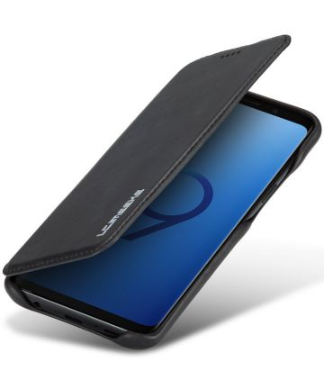 Samsung Galaxy S9 Retro Lederen Bookcase Hoesje met Kaarthouder Zwart