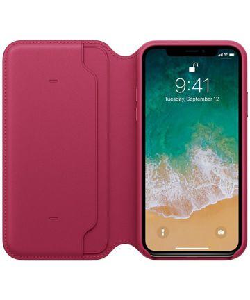 Originele Apple iPhone XS / X Leather Folio Berry Hoesjes