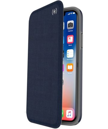 Speck Presidio Kunstleren Booklet Hoesje Apple iPhone XS Blauw