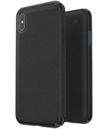 Speck Presidio Apple iPhone XS Max Leren Bookcase Zwart Pashouder