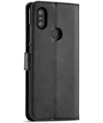 Xiaomi Mi A2 Lederen Portemonnee Stand Bookcase Hoesje Zwart Hoesjes