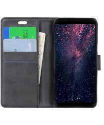 Samsung Galaxy A9 (2018) Lederen Wallet Stand Hoesje Zwart