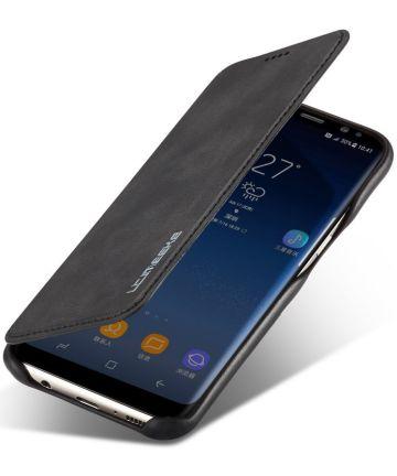 Samsung Galaxy S8 Retro Lederen Bookcase Hoesje met Kaarthouder Zwart