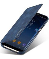 Samsung Galaxy S8 Retro Lederen Bookcase Hoesje met Kaarthouder Blauw
