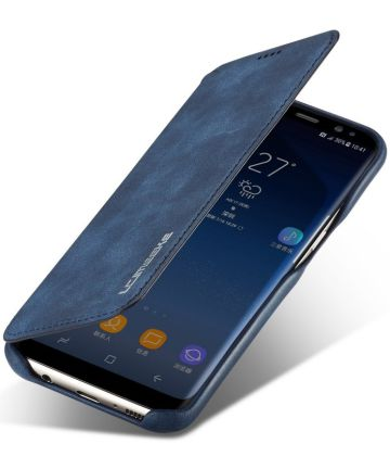 Samsung Galaxy S8 Retro Lederen Bookcase Hoesje met Kaarthouder Blauw Hoesjes