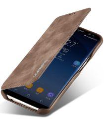 Samsung Galaxy S8 Retro Lederen Bookcase Hoesje met Kaarthouder Coffee