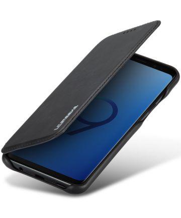 Samsung Galaxy S9 Plus Retro Lederen Hoesje met Kaarthouder Zwart Hoesjes