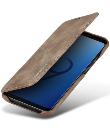 Samsung Galaxy S9 Retro Lederen Bookcase Hoesje met Kaarthouder Coffee Hoesjes