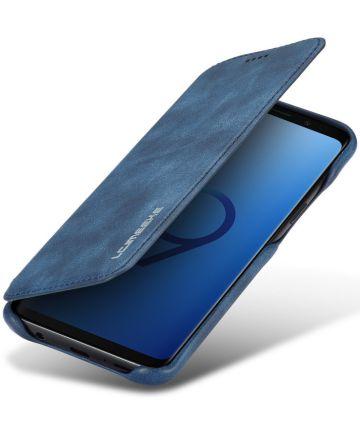 Samsung Galaxy S9 Retro Lederen Bookcase Hoesje met Kaarthouder Blauw Hoesjes