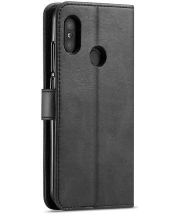 Xiaomi Mi A2 Lite Lederen Wallet Bookcase Hoesje Zwart Hoesjes