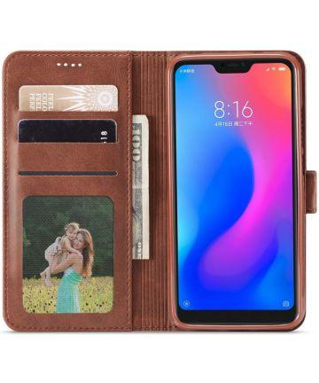 Xiaomi Mi A2 Lite Hoesje Wallet Book Case Kunst Leer Bruin