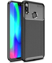 Huawei Y9 (2019) Siliconen Carbon Hoesje Zwart