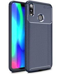 Huawei Y9 (2019) Siliconen Carbon Hoesje Blauw