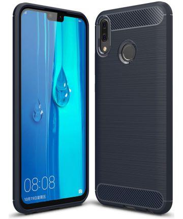 Huawei Y9 (2019) Geborsteld TPU Hoesje Blauw