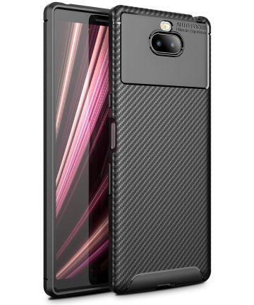 Sony Xperia 10 Siliconen Carbon Hoesje Zwart