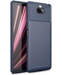 Sony Xperia 10 Siliconen Carbon Hoesje Blauw