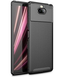 Sony Xperia 10 Plus Siliconen Carbon Hoesje Zwart