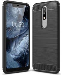 Nokia 5.1 Plus Geborsteld TPU Hoesje Zwart