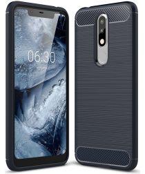 Nokia 5.1 Plus Geborsteld TPU Hoesje Blauw