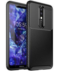 Nokia 5.1 Plus Siliconen Carbon Hoesje Zwart