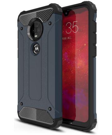 Motorola Moto G7 Hybride Hoesje Donker Blauw