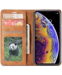 Apple iPhone X / XS Lederen Wallet Stand Hoesje Bruin