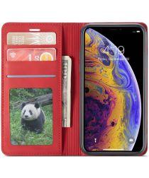 Apple iPhone X / XS Lederen Wallet Stand Hoesje Rood