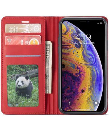 Apple iPhone X / XS Lederen Wallet Stand Hoesje Rood Hoesjes