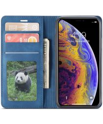 Apple iPhone X / XS Lederen Wallet Stand Hoesje Blauw