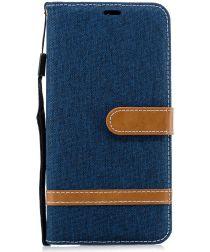 Samsung Galaxy A7 (2018) Jeans Portemonnee Hoesje Donker Blauw