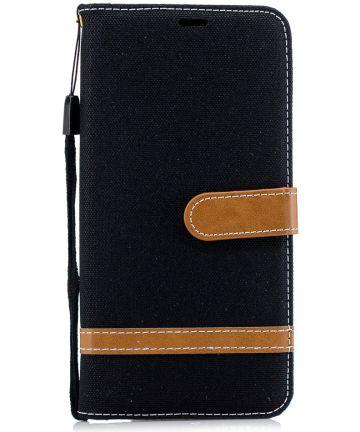 Samsung Galaxy A7 (2018) Jeans Portemonnee Hoesje Zwart
