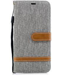 Samsung Galaxy A7 (2018) Jeans Portemonnee Hoesje Grijs