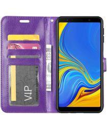 Samsung Galaxy A7 (2018) Lederen Portemonnee Hoesje Paars