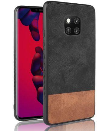 Huawei Mate 20 Pro Back Cover met Lederen Coating Zwart Hoesjes