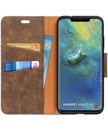 Huawei Mate 20 Pro Split Lederen Portemonnee Hoesje Coffee Hoesjes