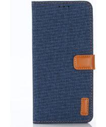 Huawei Mate 20 Pro Jeans Portemonnee Hoesje Donker Blauw