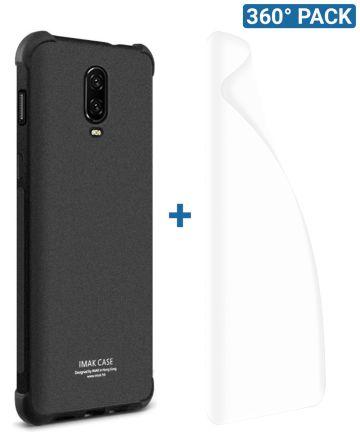 IMAK OnePlus 6T Hoesje Flexibel TPU met Screenprotector Matte Zwart