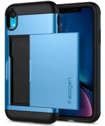 Spigen Slim Armor Card Holder Case Apple iPhone XR Hoesje Blauw