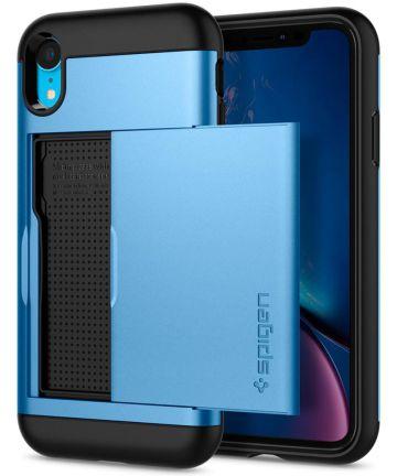 Spigen Slim Armor Card Holder Case Apple iPhone XR Hoesje Blauw Hoesjes
