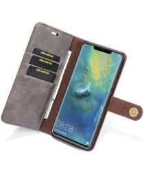 Huawei Mate 20 Pro Echt Leren 2-in-1 Portemonnee Hoesje Grijs
