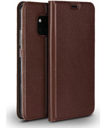 Huawei Mate 20 Pro Echt Leren Book Case Hoesje Bruin