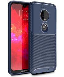 Motorola Moto G7 Siliconen Carbon Hoesje Blauw