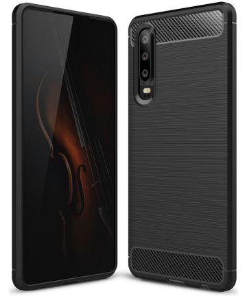 Huawei P30 Geborsteld TPU Hoesje Zwart Hoesjes