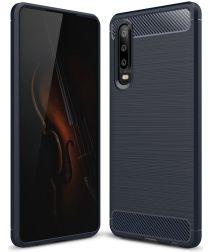 Huawei P30 Geborsteld TPU Hoesje Blauw